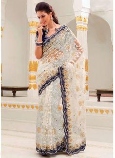 Dazzling Off White Net Wedding Saree @ $256