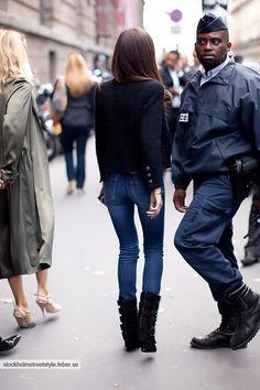 girlfriend's got good denim (plus it's a Chanel/Balmain combo... awesome). Paris. #BarbaraMartelo
