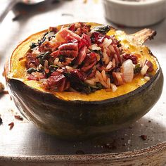 Wild Rice-Stuffed Acorn Squash with Cranberries, Pecans & Pancetta