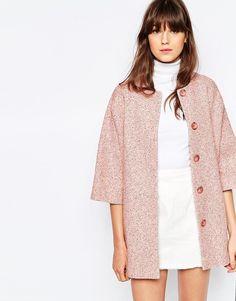 Helene Berman Kimono Coat In Pink Tweed