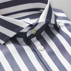 Dark Blue Bold Striped Shirt - Super slim fit   Eton Global