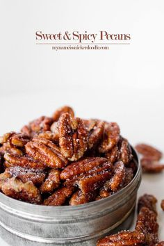 Really good but only used teaspoon cayenne and it was plenty spicy for me! Sweet and Spicy Pecans Recipe. These are perfect to snack on or toss into a salad! Appetizer Recipes, Snack Recipes, Appetizers, Cooking Recipes, Jelly Recipes, Slow Food, Sweet And Spicy Pecans Recipe, Spicy Nuts, Pecan Recipes