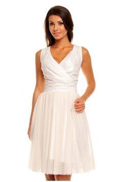 Tiulowa sukienka z koronkową górą KM141