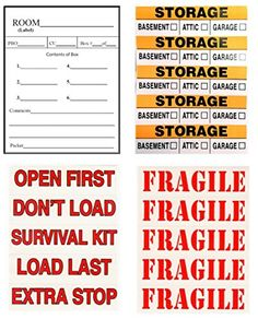 Tag-A-Room Color Coded Moving Packing Box Labels Stickers (Content) Moving Day, Moving Tips, Moving House, Organizing Labels, Storage Organization, Packing Boxes, Room Colors, Helpful Hints, Survival
