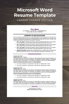 Modern Resume Template, Career Change Edition - Steph Cartwright, CPRW // Off The Clock Resumes - Microsoft Word Resume Template, Modern Resume Template, Resume Templates, Resume Words, Resume Writing, Writing Tips, Best Resume, Resume Tips, Resume Skills