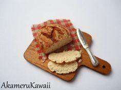 Miniature Bread on cutting board by AkameruKawaii on Etsy, $8.00