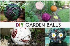 Gallery of creative garden art balls with tutorials. No more expensive gazing balls! Homemade garden balls (garden globes) are very popular these days. They add a nice burst of colour and interest to the garden and they are inexpensive and easy to make.