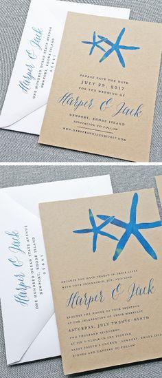 NEW Harper Watercolor Starfish Beach Kraft Save the Date and Wedding Invitation