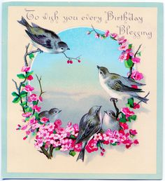 *The Graphics Fairy LLC*: Vintage Clip Art Image - Sweet Birds with Flowers - Birthday Greeting...free printable