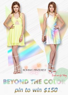 Pin To Win $150 credit>>  How to enter>>Click the photo to know details.   #pintowin#RomweBeyondthecolor April. 30 – May. 25, 2014 |  Winners will be announced on May 28, 2014  # Romwe beyond the Color All Fashion, Everyday Fashion, Fashion Online, Street Fashion, Dress Skirt, Dress Up, Romwe, Street Style, Style Inspiration