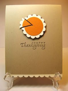 Sweet and simple Thanksgiving card - just use punches or dies. Couldn't be any easier and more adorable than this ~ via Sweet Pea - Bunny