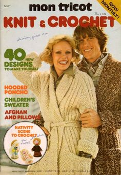 Mon Tricot Knit Crochet MD 27 Hooded Poncho Sweater Jacket Nativity Pattern 1975 #MonTricotKnitCrochet #KnittingCrochetPatterns
