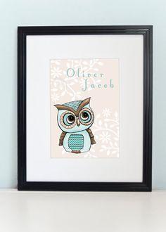 Owl Art Print 8x10  Owl Nursery Art  Personalized by PebblesPrints, $18.00