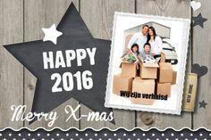 #kerst #kaart #kerstkaart #kerstkaarten #xmas #merry #christmas #happy #2016 #foto #fotokaart #fuif #hout #ster #grijs #wit #typografie #krijt #krijtbord #inspiratie #happy #new #year #verhuizen #verhuiskaart #sterren