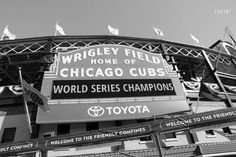 Chicago Cubs photo, black and white photo, Wrigley Field picture; PAPER PRINT version with fast shipping. Chicago Wrigley Field sign photo print after Cubs won their title. Black and white art photography, small to large wall décor, a gift for a baseball fan. Available in sizes from 5x7 to 30x45 inches on a premium quality photo paper. Choose a desired paper size from the SELECT OPTIONS menu (located just above the Add to Cart button). Images above show prints in the following sizes…