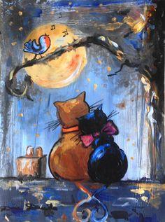 """""""Soirée romantique pour Roxane,   Tom a invité Roxane au concert de Readybird....""""Cat - Photo, Color, Original Painting, Beautiful, Artmajeur, Contemporary Art"""