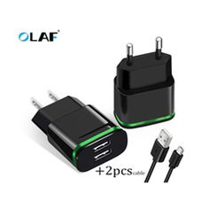 OLAF EU US Plug 2 Ports LED Light USB Charger 5V 2A Wall Adapter Mobile Phone Micro Data cable Charging For iPhone iPad Samsung