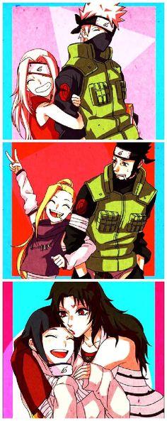 Sakura e Kakashi sensei/ Ino e Asuma sensei/ Hinata e Kurenai sensei Anime Naruto, Naruto Kakashi, Naruto Teams, Naruto Comic, Naruto Cute, Naruto Shippuden Sasuke, Naruto Girls, Hinata Hyuga, Funny Naruto Memes