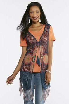 070a3790c Cato Fashions Open Crochet Fringe Vest #CatoFashions Crochet Fringe, Fringe  Vest, Your Style