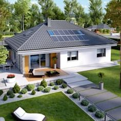 Simple, small, modern family home. Projekt domu Astrid (mała) by Pracownia P. Beautiful House Plans, Modern House Plans, Modern House Design, Beautiful Homes, Layouts Casa, House Layouts, Style At Home, Bungalow Haus Design, Village House Design