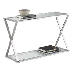 Stainless steel console table with x-shaped sides. Product: Console table Construction Material: Polished s...