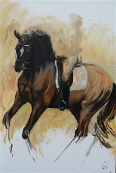 "HORSES Dressage Oil painting by ""Pirouette"" 120 x 180 http://www.cathdriessen.nl/"