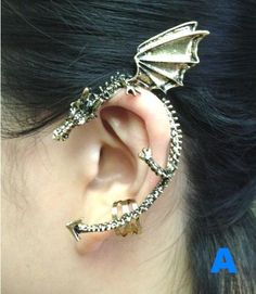 Dragon Ear Cuff Earring tattoo snack cool punk rock retro medieval animal accessory girl street fashion gothic jewelry gift via Etsy