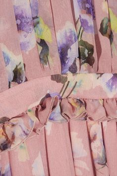 MSGM - Pleated Floral-print Silk-chiffon Gown - Pastel pink - IT42