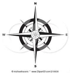 Black And White Ornate Compass Rose By Michaeltravers