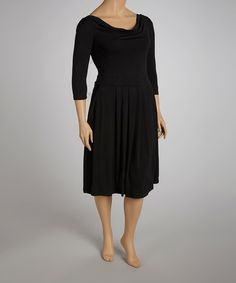 Black Three-Quarter Sleeve Dress - it even has pockets!, Reborn Collection