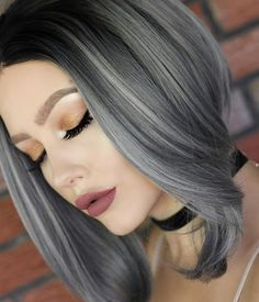 Ombre Blonde, Black, Blue, Purple, Grey and Pink Wigs Hot Sale Silver Ombre Hair, Black Grey Ombre Hair, Dark Silver Hair, Ash Gray Hair Color, Blonde Ombre, White Hair, Grey Hair Wig, Lilac Hair, Pastel Hair