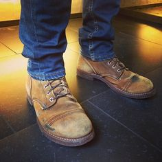 One of the three Iron Rangers owned by this motorcycle fanatic. He has worn these muleskinners for 6 years now. #redwingshoes #ironranger #h...