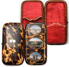Antique Grand Tour Souvenir of Paris, 3 Large Eglomise Views Set in Faux Tortoise Shell Cigar Case, Etui