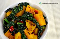 Butternut squash and cavalo nero (or black cabbage) makes a tasty side dish with a hint of chilli and garlic.