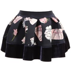Baby Girls Navy Blue Printed Neoprene Skirt, Monnalisa, Girl