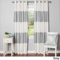 Striped Dupioni Grommet Top Blackout Curtain Panel Pair | Overstock™ Shopping - Great Deals on Curtains