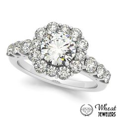 Square Halo Engagement Ring with Large Round Diamonds available at Wheat Jewelers
