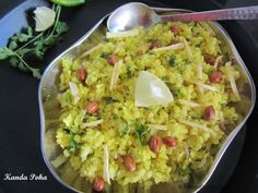 Maharashtrian Kanda Poha or Kanda Pohe is a very popular breakfast/snack item all over Maharashtra. This is an easy to make and super quick dish that can be whipped in few minutes – healthy and nutritious.