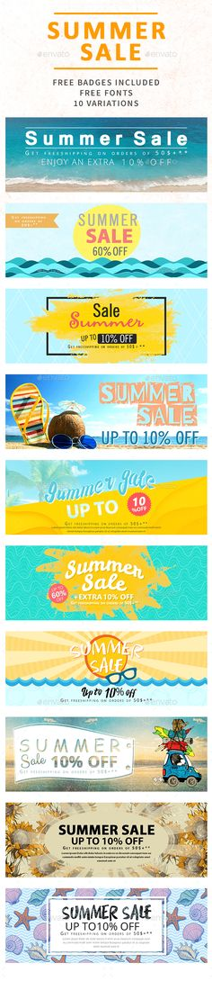 Summer Sale Banners — Photoshop PSD #sale #social network • Available here → https://graphicriver.net/item/summer-sale-banners/20125324?ref=pxcr