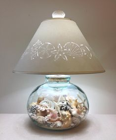 Fillable Bean Jar Lamp with Seashell Cut Lampshade-Fillable Lamp-Recycled Glass-Lamp-Seashell Lamp-Fillable-Lamp Shade-Beach Decor-Seashells Seashell Projects, Seashell Crafts, Fillable Lamp, Glass Lamp Base, Shell Lamp, Deco Marine, Paper Lampshade, Jar Lamp, Unique Lamps