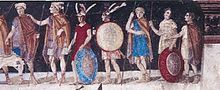 An ancient fresco of Macedonian soldiers from the tomb of Agios Athanasios, Thessaloniki, Greece. http://history-of-macedonia.com