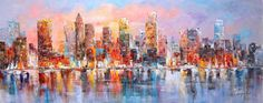 28x70  Manhattan with river reflection over East by LuigiPaulini