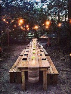 Outdoor farm table and lights. Outdoor farm table and lights. Backyard Patio, Backyard Landscaping, Backyard Canopy, Landscaping Ideas, Outdoor Farm Table, Farm Tables, Party Outdoor, Diy Picnic Table, Picnic Table Wedding