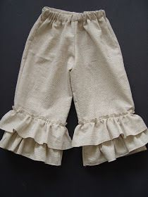 Actually meant for children but can be modified into britches: How to Make Ruffle Leg Pants