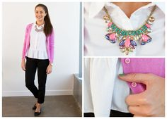Fashion & Beauty Assistant Alexandra goes for preppy chic in her favourite blouse, with a peplum kick at the waist.