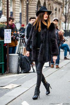 fur coat, street style seconds in Paris during Paris Fashion Week