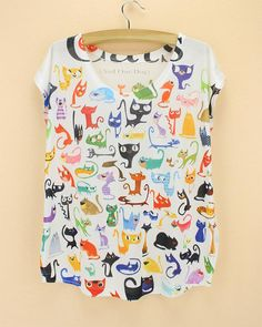 Doodle Cats print Tshirt ladies Novelty pattern t-shirts womens fashion summer tee big size tops tees short sleeved clothing //Price: $11.95 & FREE Shipping //     #catstore