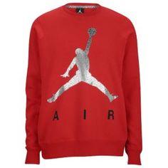 Jordan Jumpman Air Fleece Crew - Men's - Gym Red/Silver/Black