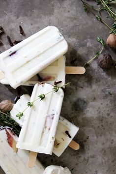 fig yogurt pops with honey and thyme