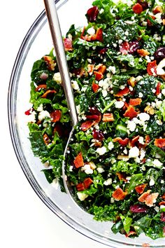 Kale Salad with Bacon and Blue Cheese | 21 Outrageous Recipes For Everyone Who's Obsessed With Bacon